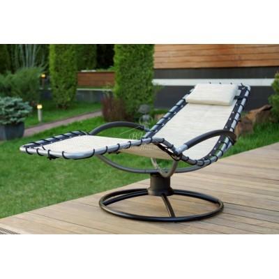 Кресло шезлонг качалка ФЛЭТ на пружинной круглой подставке