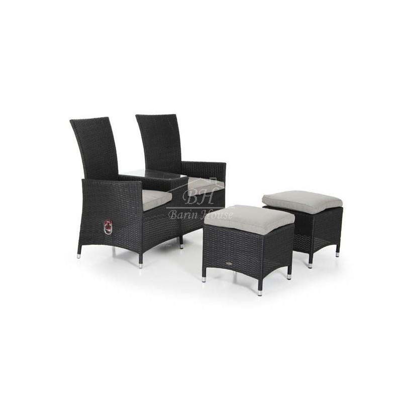 Кресло двойное плетеное Brafab NINJA BLACK