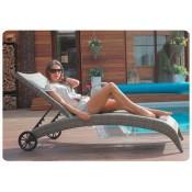 Кресло шезлонг складной лежак из ротанга MONACO цвет бежево - коричневый