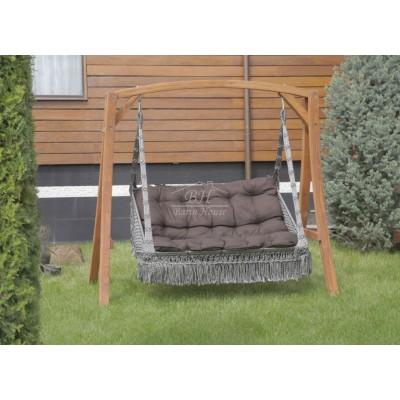 Подвесные деревянные качели VILLA + балдахин CLASSIC